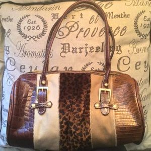 Maxx New York brown tones leather & faux fur bag